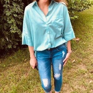 NWT UmGee Mint Green Oversized Button Down